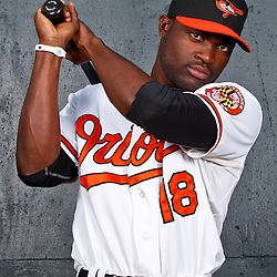 February 26, 2011; Sarasota, FL, USA; Baltimore Orioles left fielder Felix Pie (18) poses during photo day at Ed Smith Stadium.  Mandatory Credit: Derick E. Hingle