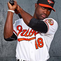 February 26, 2011; Sarasota, FL, USA; Baltimore Orioles left fielder Felix Pie (18) poses during photo day at Ed Smith Stadium.  Mandatory Credit: Derick E. Hingle