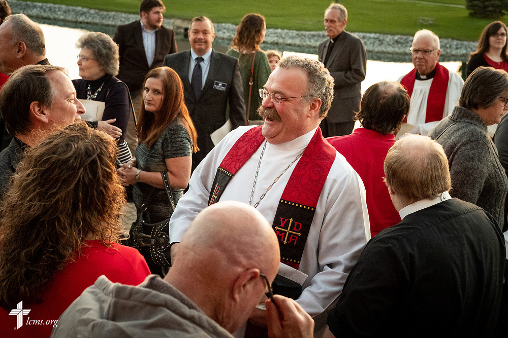 The Rev. Dr. Matthew C. Harrison, president of the LCMS, greets guests following The Order of Vespers with Distribution of Calls into the Holy Ministry on Wednesday, April 25, 2018, outside Kramer Chapel at Concordia Theological Seminary, Fort Wayne, Ind. LCMS Communications/Erik M. Lunsford