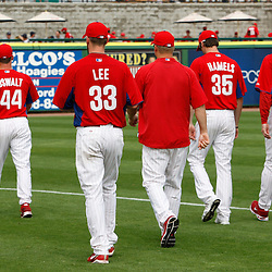 March 1, 2011; Clearwater, FL, USA; The Philadelphia Phillies starting five pitchers Roy Oswalt (44), Cliff Lee (33) Joe Blanton (center), Cole Hamels (35) and Roy Halladay (34) walk off the field during a spring training exhibition game against the Detroit Tigers at Bright House Networks Field. Mandatory Credit: Derick E. Hingle