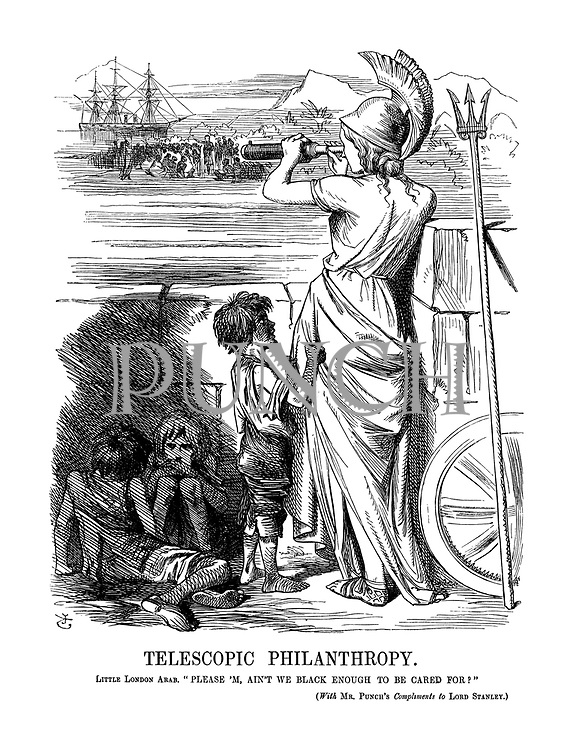 "Telescopic Philanthropy. Little London Arab. ""Please 'M, Ain't We Black Enough To Be Cared For?"" (with MR. PUNCH'S Compliments to LORD STANLEY.)"
