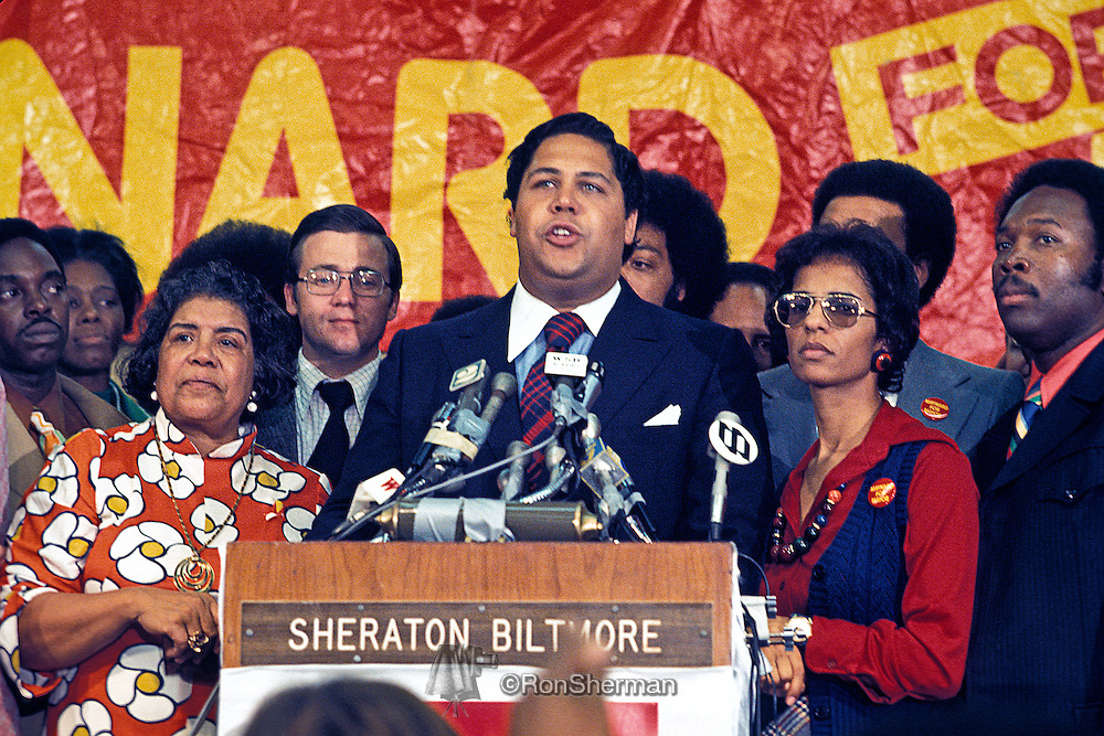 Irene Dobbs Jackson, mother; Maynard Jackson Atlanta Mayor new elected 1973; Bunnie, wife (1965-1977) at victory rally.