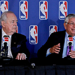 April 16, 2012; New Orleans, LA, USA; New Orleans Hornets and Saints owner Tom Benson and NBA commissioner David Stern at press conference announcing ownership to the Benson's and the awarding of the 2014 All Star game to the city of New Orleans at the New Orleans Arena.   Mandatory Credit: Derick E. Hingle-US PRESSWIRE