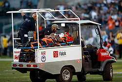 OAKLAND, CA - NOVEMBER 17: Wide receiver Auden Tate #19 of the Cincinnati Bengals carted off the field after sustaining an injury during the fourth quarter against the Oakland Raiders at RingCentral Coliseum on November 17, 2019 in Oakland, California. The Oakland Raiders defeated the Cincinnati Bengals 17-10. (Photo by Jason O. Watson/Getty Images) *** Local Caption *** Auden Tate