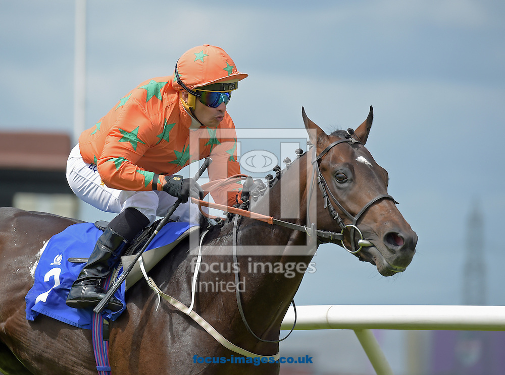 Love Dreams ridden by Sylvester De Sousa (orange with green stars) wins EBF Stallions Spindrifter Conditions Stakes at Pontefract Racecourse, Pontefract<br /> Picture by Martin Lynch/Focus Images Ltd 07501333150<br /> 27/06/2016