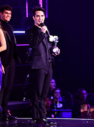 Brendon Urie of Panic! at the Disco collects his Best Alternative Winners award for on stage at the MTV Europe Music Awards 2018 held at the Bilbao Exhibition Centre, Spain.