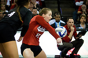 OMAHA, NE - DECEMBER 19: Outside hitter Annika Albrecht #17 of the Nebraska during their NCAA finals match against the Texas at the CenturyLink Center on December 19, 2015 in Omaha, Nebraska.  (Photo by Eric Francis)