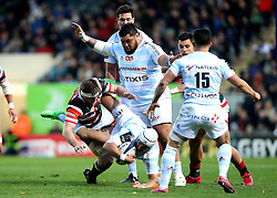 Brendon O'Connor of Leicester Tigers tackles Johannes Goosen of Racing 92 - Mandatory by-line: Robbie Stephenson/JMP - 23/10/2016 - RUGBY - Welford Road Stadium - Leicester, England - Leicester Tigers v Racing 92 - European Champions Cup