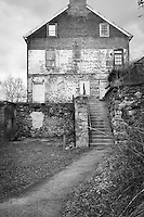 Black & White Image of Historic Luckenbach Mill Colonial Industrial Quarter Bethlehem Pennsylvania Lehigh Valley