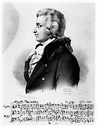Wolfgang Amadeus Mozart (1756-1791), c1790. The music below the portrait is the beginning of his song 'Das Veilchen' ('The Violet') dated 8 June 1789.