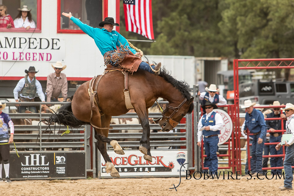 Saddle brond rider Josh Davison rides Summit Pro Rodeo's Big Hole during the third performance of the Elizabeth Stampede on Sunday, June 3, 2018.