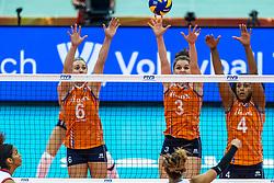 07-10-2018 JPN: World Championship Volleyball Women day 8, Nagoya<br /> Netherlands - Puerto Rico 3-0 / Maret Balkestein-Grothues #6 of Netherlands, Yvon Belien #3 of Netherlands, Celeste Plak #4 of Netherlands