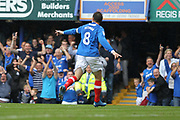 GOAL Brett Pitman celebrates making it 2-0 during the EFL Sky Bet League 1 match between Portsmouth and Rochdale at Fratton Park, Portsmouth, England on 5 August 2017. Photo by Daniel Youngs.