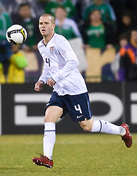United States midfielder Michael Bradley (4) in action against Mexico.  The United States men's soccer team defeated the Mexican national team 2-0 in CONCACAF final group qualifying for the 2010 World Cup at Columbus Crew Stadium in Columbus, Ohio on February 11, 2009.