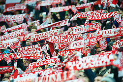 Wroclaw, Poland - 2016 November 14: Polish supporters during Poland v Slovenia - International Friendly Soccer Match at Municipal Stadium on November 14, 2016 in Wroclaw, Poland.<br /> <br /> Adam Nurkiewicz declares that he has no rights to the image of people at the photographs of his authorship.<br /> <br /> Picture also available in RAW (NEF) or TIFF format on special request.<br /> <br /> Any editorial, commercial or promotional use requires written permission from the author of image.<br /> <br /> Mandatory credit:<br /> Photo by © Adam Nurkiewicz / Mediasport
