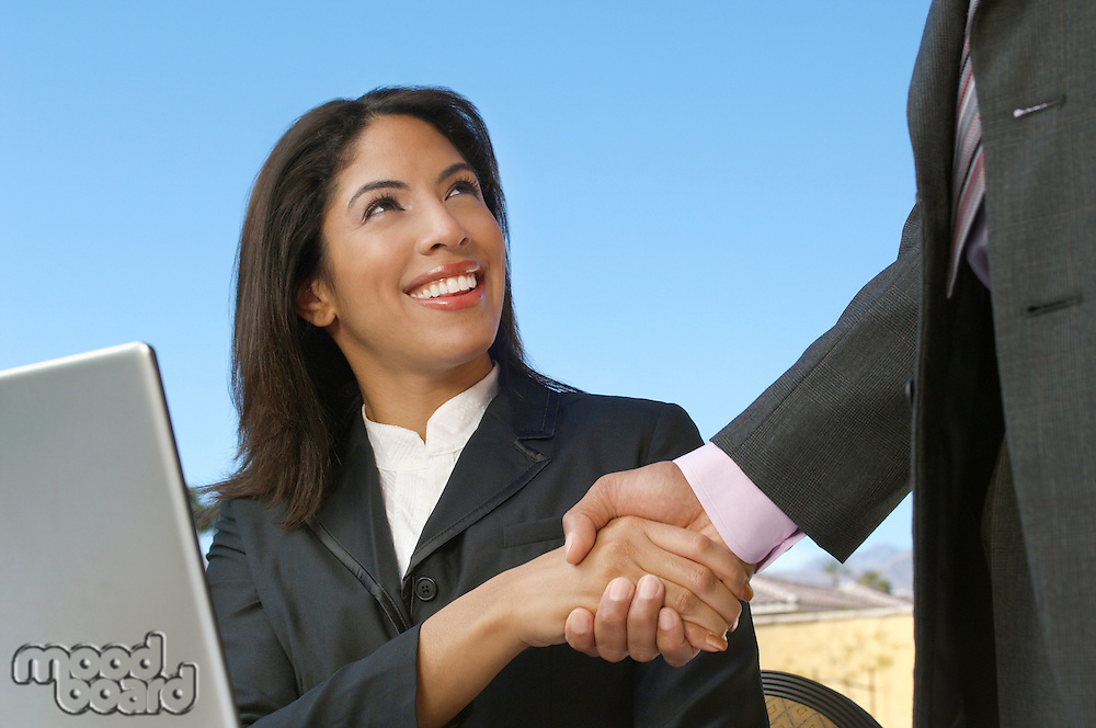 Mid adult business woman in front of laptop shaking hands with man (mid section)