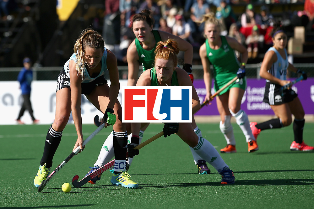 JOHANNESBURG, SOUTH AFRICA - JULY 18: Delfina Merino of Argentina and Zoe Wilson of Ireland battle for possession during the Quarter Final match between Argentina and Ireland during the FIH Hockey World League - Women's Semi Finals on July 18, 2017 in Johannesburg, South Africa.  (Photo by Jan Kruger/Getty Images for FIH)
