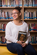 Mercedes Gastellum poses for a portrait in the Library at Milpitas High School in Milpitas, California, on May 15, 2015. (Stan Olszewski/SOSKIphoto)