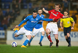 St Johnstone's Michael O'Halloran scoring their second goal. St Johnstone 2 v 1 Ross County, Scottish Premiership 22/11/2014 at St Johnstone's home ground, McDiarmid Park.
