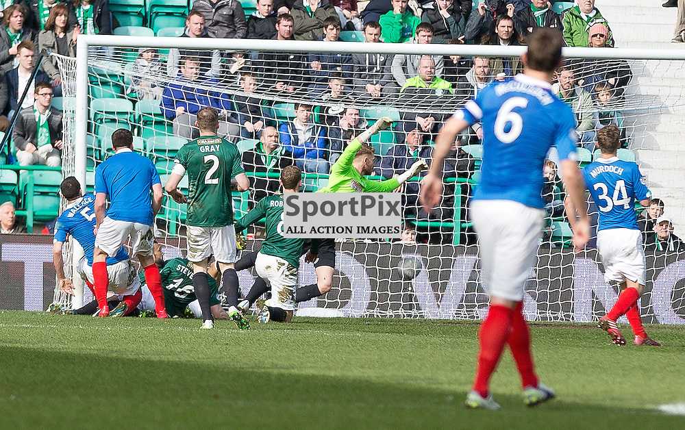 iHibernian v Rangers Scottish Championship 22 March 2015; Ranger's Lee Wallace scores during the Hibernian v Rangers Scottish Championship match played at Easter Road Stadium, Edinburgh;