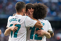 Real Madrid Lucas Vazquez, Nacho Fernandez and Marcelo celebrating a goal during La Liga match between Real Madrid and R. C. Deportivo at Santiago Bernabeu Stadium in Madrid, Spain. January 18, 2018. (ALTERPHOTOS/Borja B.Hojas)