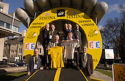 Former British Tour de France riders at the launch of the 2007 Tour de France Prologue and Stage 1 in London. Vin Denson is holding one of Tom Simpson's yellow jerseys. Colin Lewis is holding another jersey.