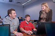 18911College of Business Classroom shots...Amy Taylor-Bianco's  MGT 480 Class..Amy Taylor-Bianco & Chris Sirc & Jeremy Obrecht(red)