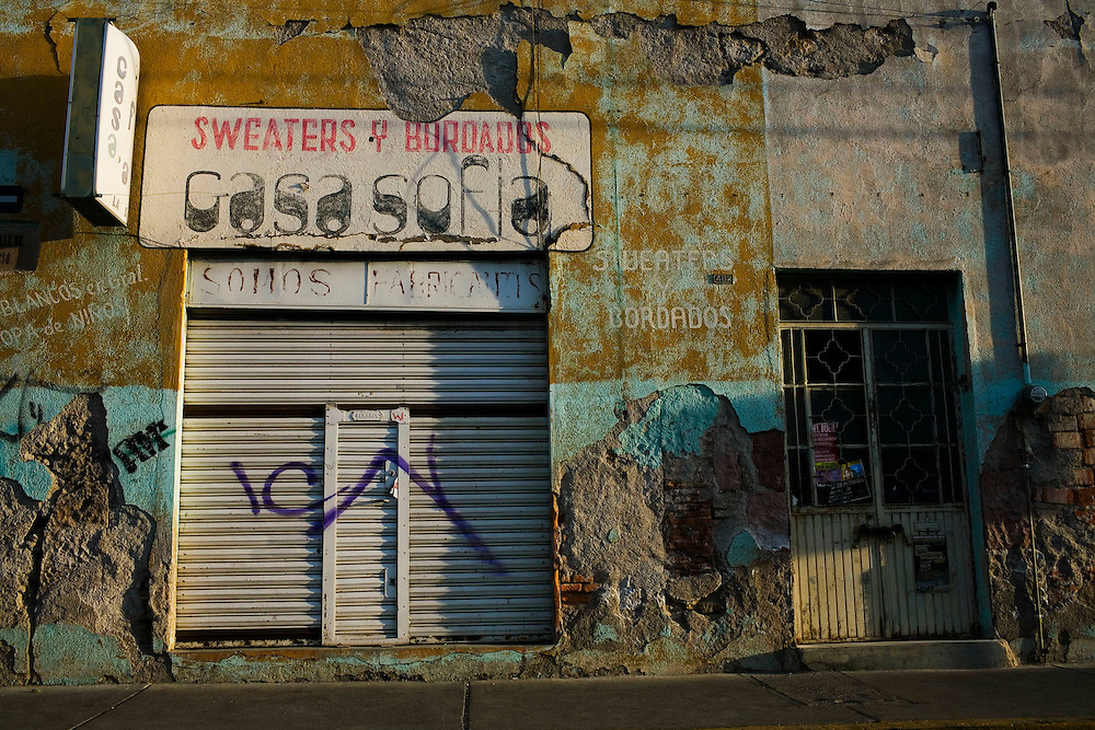 A shop is closed for the day in downtown Aguascalientes, Mexico