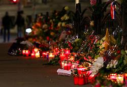 14.11.2015, Botschaft der Französischen Republik, Wien, AUT, Terroranschläge von Paris, Gedenken in Österreich, im Bild Kerzen und Blumen vor der Botschaft. Bei einer Serie von Terroranschlägen in Paris wurden mindestens 128 Menschen getötet. Terroristen hatten in der Nacht bei Angriffen mit Schusswaffen und Bombenanschlägen gezielt Anschläge auf Frankreich verübt // Candles and flowers in front of the embassy. French President Francois Hollande said more than 120 people died Friday night in shootings at Paris cafes, suicide bombings near France national stadium and a hostage- taking slaughter inside a concert hall, at the French embassy in Vienna, Austria, EXPA Pictures © 2015, PhotoCredit: EXPA/ Sebastian Pucher