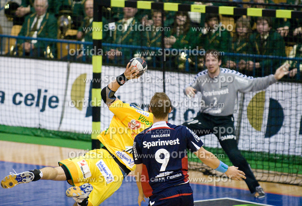 Renato Vugrinec at handball quarter final EHF Cup match between RK Celje Pivovarna Lasko and SG Handewitt Flensburg, on April 3, 2010, Dvorana Zlatorog, Celje, Slovenia. Flensburg won 32:35. (Photo by Matic Klansek Velej / Sportida)