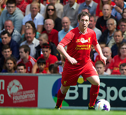 03.08.2013, Anfield Stadion, Liverpool, ENG, Testspiel, Liverpool FC vs Olympiakos CFP, im Bild Liverpool's Robbie Fowler in action against Olympiakos CFP during a preseason friendly match at Anfield during the friendly Match between Liverpool FC and Olympiakos CFP at the Anfield Stadion, Liverpool, England on 2013/08/03. EXPA Pictures © 2013, PhotoCredit: EXPA/ Propagandaphoto/ David Rawcliffe<br /> <br /> ***** ATTENTION - OUT OF ENG, GBR, UK *****