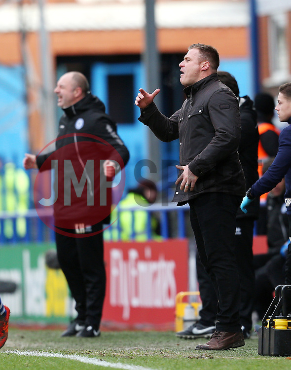 Bury Manager David Flitcroft and Rochdale Manager, Keith Hill shout to their players - Mandatory byline: Matt McNulty/JMP - 06/12/2015 - Football - Spotland Stadium - Rochdale, England - Rochdale v Bury - FA Cup