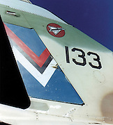 Israeli Air Force Dassault Mirage IIICJ fighter plane close up of the tail - Archival Image