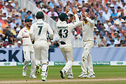 Wicket - Nathan Lyon of Australia celebrates taking the wicket of Moeen Ali of England during the International Test Match 2019 match between England and Australia at Edgbaston, Birmingham, United Kingdom on 3 August 2019.