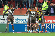 Goal Brentford celebrate as Brentford forward Neal Maupay scores a goal to make it 2-4 during the EFL Sky Bet Championship match between Rotherham United and Brentford at the AESSEAL New York Stadium, Rotherham, England on 19 January 2019.