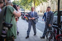 © Licensed to London News Pictures. 27/08/2019. London, UK. Leader of The Brexit Party Nigel Farage arrives at Emmanuel House in London for the announcement of prospective parliamentary candidates. Photo credit: Rob Pinney/LNP