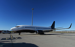MADRID, SPAIN - Wednesday, May 29, 2019: The 2 Excel Aviation Boeing 737-3L9 plane (G-SWRD) carrying theTottenham Hotspur FC squad arrives at the Adolfo Suarez Madrid-Barajas Airport ahead of the UEFA Champions League Final between Tottenham Hotspur FC and Liverpool FC. (Pic by Denis Doyle/UEFA)