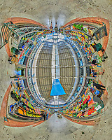 Mercado da Ribeira. Indoor Farmers Market  Little Planet View Composite of 28 images taken with a Nikon D850 camera and 8-15 mm fisheye lens (ISO 3200, 15 mm, f/8, 1/125 sec). Raw images processed with Capture One Pro and Auto Pano Giga.