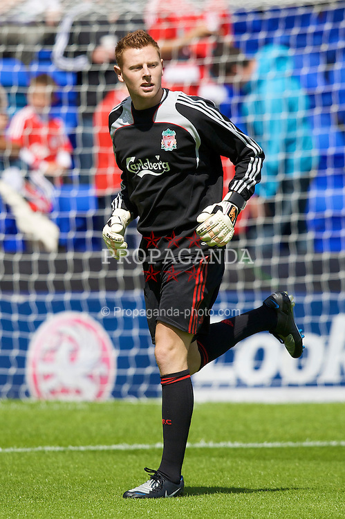 BIRKENHEAD, ENGLAND - Saturday, July 12, 2008: Liverpool's goalkeeper Martin Hansen during his side's first pre-season match of the 2008/2009 season against Tranmere Rovers at Prenton Park. (Photo by David Rawcliffe/Propaganda)