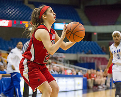 Bridgeport guard Gianina Renzelli (20) shoots along the baseline against Fairmont Senior during a first round game at the Charleston Civic Center.