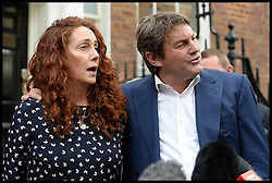 Image ©Licensed to i-Images Picture Agency. 26/06/2014. London, United Kingdom. Rebekah and Charlie Brooks  giving a statement on the Phone hacking verdict outside her house in London. Picture by Andrew Parsons / i-Images