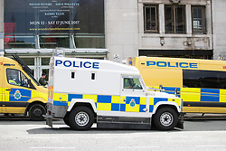 © Licensed to London News Pictures . 03/06/2017 . Liverpool , UK . A militarised vehicle is seen outside Liverpool Lime Street station as hundreds of police manage a demonstration by the far-right street protest movement , the English Defence League ( EDL ) and an demonstration by opposing anti-fascists , including Unite Against Fascism ( UAF ) . Photo credit: Joel Goodman/LNP