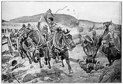 Before Ladysmith: British horse artillery under attack from the Boers galloping to take up a new position. After drawing by R. Caton Woodville, 1899.
