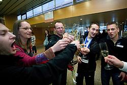 Mitja Petkovsek, , Sebastjan Piletic, Saso Bertoncelja and Aljaz Pegan at reception of third placed Saso Bertoncelj at European Championships in artistic gymnastics in Birmingham 2010, on April 26, 2010, at Airport Joze Pucnik, Brnik, Slovenia. (Photo by Vid Ponikvar / Sportida)