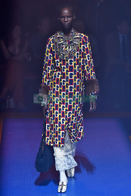 dca251d895d Model Shanelle Nyasiase walks on the runway during the Gucci Fashion Show  during Milan Fashion Week.