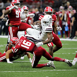 Aug 31, 2019; New Orleans, LA, USA; Mississippi State Bulldogs running back Nick Gibson (21) is tackled by Louisiana-Lafayette Ragin Cajuns defensive back Percy Butler (16) during the first half at the Mercedes-Benz Stadium. Mandatory Credit: Derick E. Hingle-USA TODAY Sports
