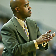 Delaware Head Coach Monté Ross claps his hands asDelaware defeated Towson 80-70 at The Bob Carpenter Center Wednesday night In Newark Delaware.