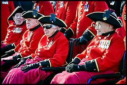 November 11, 2018 - London, United Kingdom - Chelsea Pensioners prepare to march at Horseguards Parade during Remembrance Sunday in London on the Centenary of the end of the First World War. (Credit Image: © Pete Maclaine/i-Images via ZUMA Press)