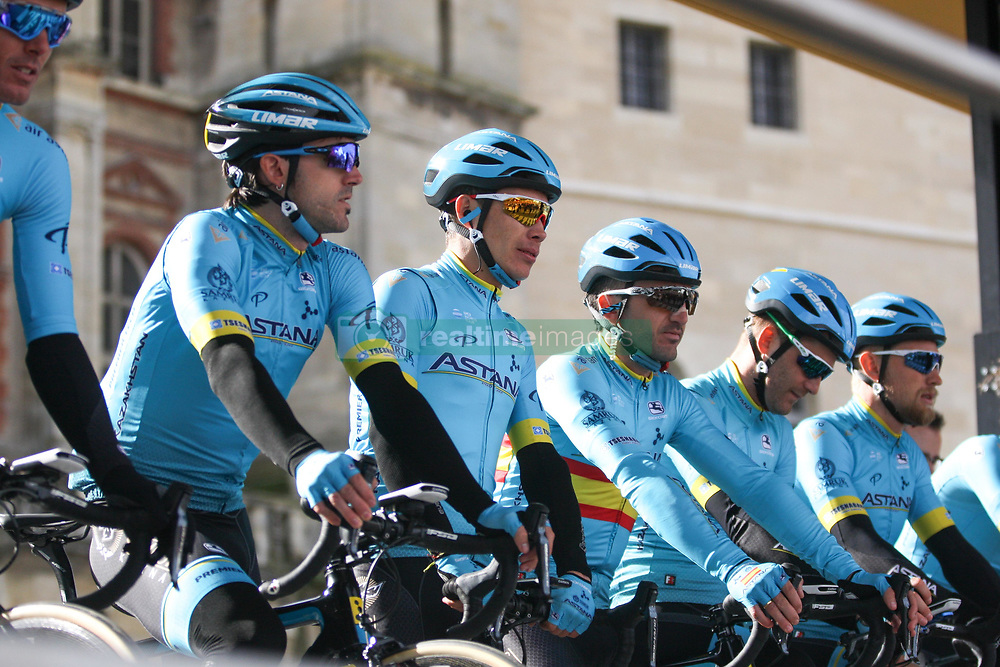 March 10, 2019 - Paris, Ile-de-France, France - Astana Pro Team cycling team poses during the team's presentation at the start of the 138,5km 1st stage of the 77th Paris-Nice cycling race between Saint-Germain-en-Laye and Saint-Germain-en-Laye in the west suburb of Paris, France, on March 10, 2019. Whether leaders of a team or merely a team-mate, the riders on the Paris-Nice try to excel, either individually or as a team. According to the stage profiles, changes in the general standings or some unexpected circumstance during the race, each rider adapts his objectives to the situation. (Credit Image: © Michel Stoupak/NurPhoto via ZUMA Press)