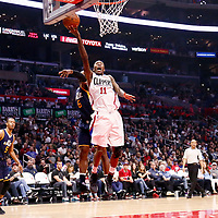 25 March 2016: LA Clippers guard Jamal Crawford (11) goes for the layup past Utah Jazz guard Rodney Hood (5) during the Los Angeles Clippers 108-95 victory over the Utah Jazz, at the Staples Center, Los Angeles, California, USA.